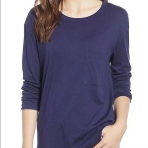 Nordstrom BP Long Sleeve Slouch pocket Top Blue S